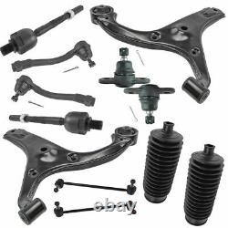 12 Piece Control Arms Ball Joints Sway Links Tie Rods Rack Boots Kit for Accent