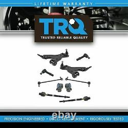 TRQ 10pc Steering Suspension Kit Control Arms with Bushings Tie Rods End Links